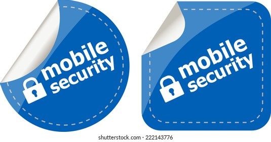 mobile security stickers label tag set isolated on white