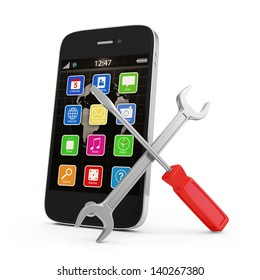 Mobile Service Concept. Touchscreen Smartphone with Wrench and Screwdriver isolated on white background