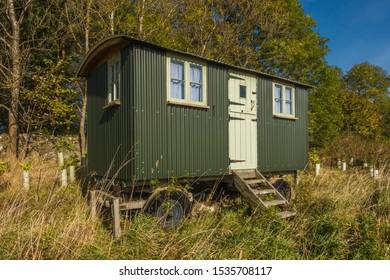 Mobile shepherds' hut at Bankhead, East Lothian, Scotland.