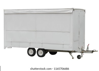 mobile shop on wheels isolated on white background