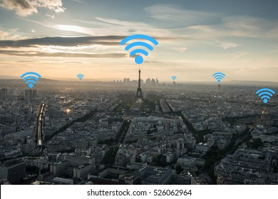 Mobile Signal in city concept. Internet and telephone signal network in the city