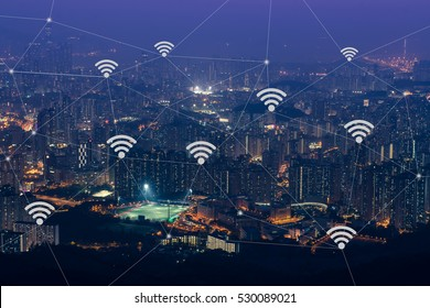 Mobile Signal, Wifi Icon in city concept. Internet and telephone signal network in the city