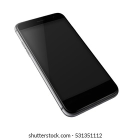 Mobile smart phone with black screen isolated on white background. Highly detailed illustration.