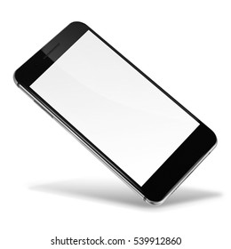 Mobile smart phone with blank screen isolated on white background. 3D illustration.