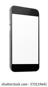 Mobile smart phone with blank screen isolated on white background. 3D illustration