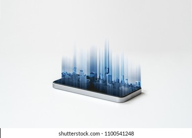 Mobile smart phone and buildings hologram technology, on white background. Mobile phone and communication technology
