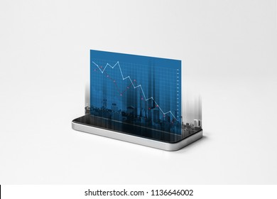 Mobile smart phone and business decreasing graph hologram screen