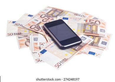 Mobile smart phone over fifty euro notes isolated on white background