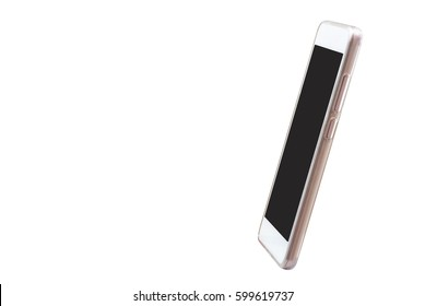 Mobile smart phone with white screen isolated on white background, For presentation or advertising design, Side view.