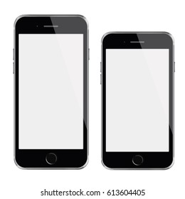 Mobile smart phones with blank screens isolated on white background. 3D illustration.