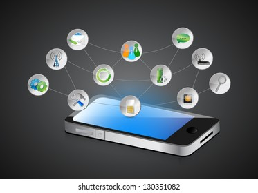 mobile smartphone, app symbols and its functions on a dark background
