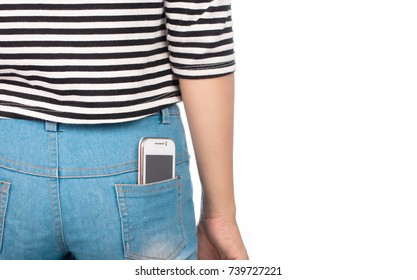 a mobile smartphone in back jeans pocket isolated on white background
