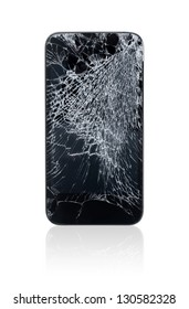 Mobile smartphone with broken screen isolated on white.