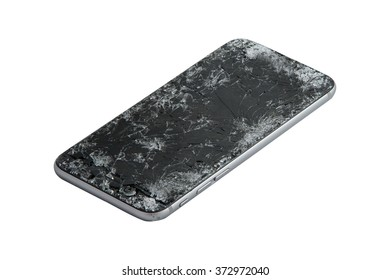 mobile smartphone with broken screen isolated on white background.
