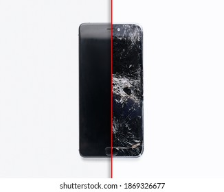 Mobile smartphone with broken screen on white background. Repairs concept.
