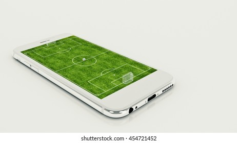 Mobile soccer. Football field on the smartphone screen and ball. Online ticket sales concept. 3d rendering