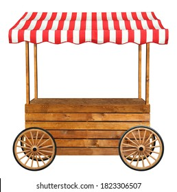 Mobile street market stand stall with wheels and red white striped awning