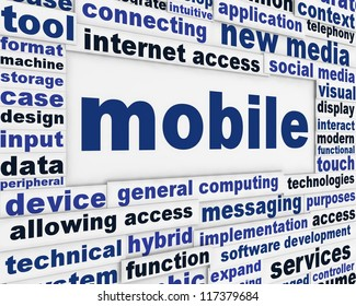 Mobile technological poster design. New technology message background concept