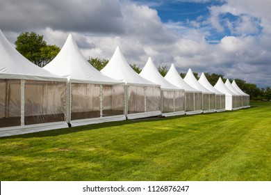 Mobile tents for trade show at amazing sunset