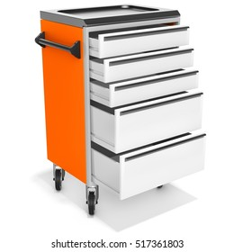 mobile tool cabinet with open drawers on white background 3D illustration
