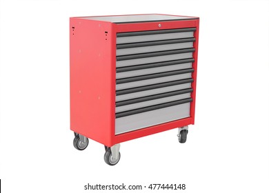 Mobile tool's trolley isolated under the white background