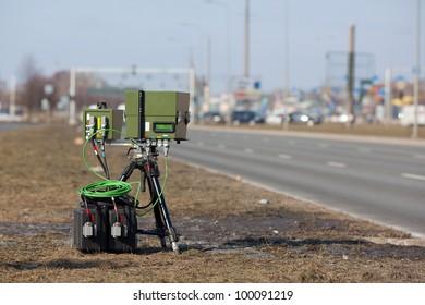 Mobile traffic radar located in an urban street
