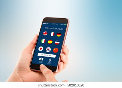 mobile translation application concept.Hand holding mobile phone on blurred abstract backgrounds