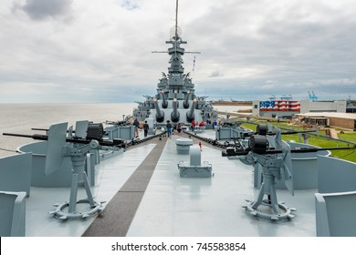 Mobile, USA - March 23, 2015: The USS Alabama Battleship at the Memorial Park in Mobile, Alabama, USA. The park has a collection of notable military aircraft and museum ships.