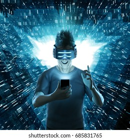 Mobile virtual reality user / 3D render of man experiencing augmented reality on mobile phone to hair raising effect
