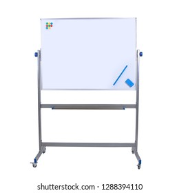 Mobile Whiteboard. Rolling Magnetic Large Double-Sided Flip Over Dry Erase White Board for Office or Classroom.  Isolated on white background