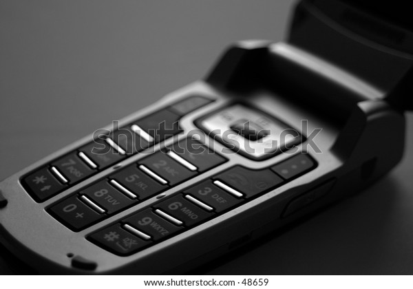 A mobile/Cell phone in black & white.