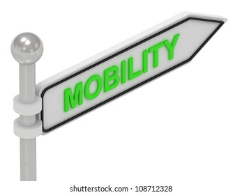 MOBILITY arrow sign with letters on isolated white background