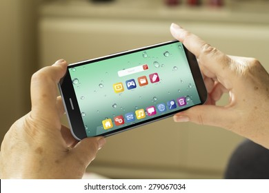 mobility concept: mature woman hands with a 3d generated smartphone with os interface on screen