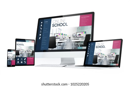 mobility devices isolated with online school on screen. 3d rendering.