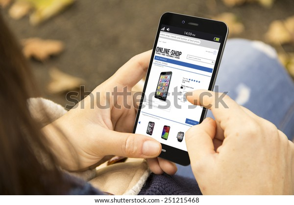 mobility and modern lifestyle concept: young woman shopping online in the park