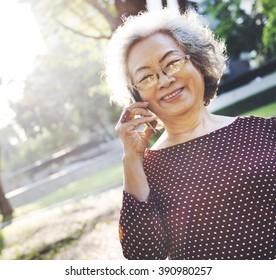 Mobility Senior Adult Online Chat Concept