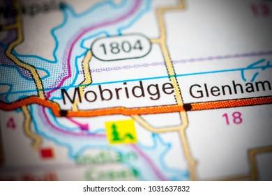Mobridge. South Dakota. USA on a map.