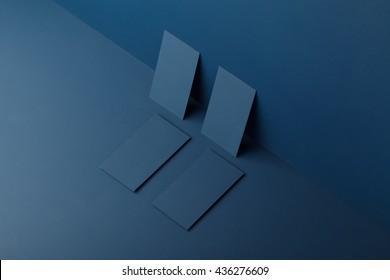 Mocap cards for branding on a blue background
