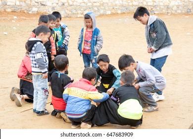 MocChau, VietNam, January 15, 2017, Children of ethnic minorities in MocChau, Vietnam. Children of ethenic minorities's group play.