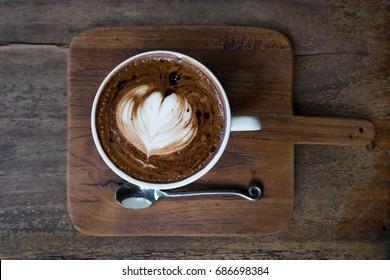 Mocha coffee on wooden table