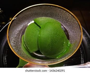 Mocha Ice-cream in a bowl, Mocha Green tea, Japanese Food