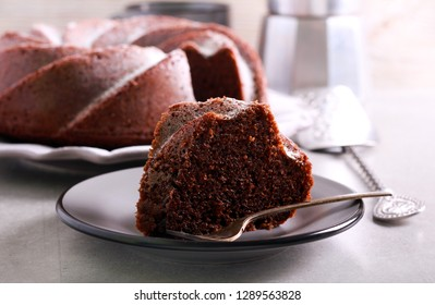 Mocha and rum ring cake on plate
