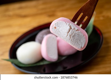 Mochi ice cream on japanese wooden plate
