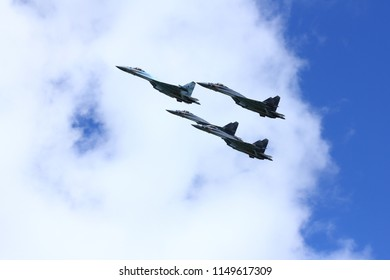 "MOCHISCHE AIRPORT, NOVOSIBIRSK, - AUG. 05:  Aviation holiday was called ""Where we are - there is victory"". ""Falcons of Russia"" group (Lipetsk) showing maneuvers fighters Su-35."