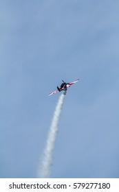 MOCHISCHE AIRPORT, NOVOSIBIRSK, RUSSIA - JULY 27, 2014. RA-1757G YAK-52 on local airshow.