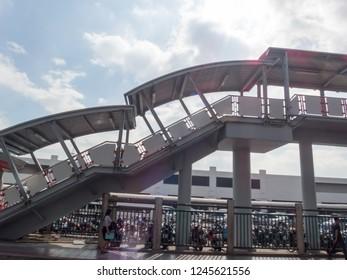 Mochit BTS Station BANGKOK THAILAND-28 NOVEMBER 2018:The steps of the Mochit BTS station. The BTS station is the first station on the east side of the BTS.on BANGKOK THAILAND-28 NOVEMBER 2018