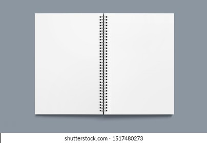 Mock up for advertising, branding and corporate identity. Realistic spiral notepad. Blank space for design or white object