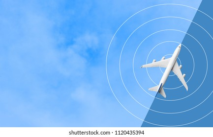 Mock up airplane flying on blue sky.transportation travel and journey concept ideas