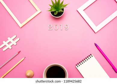 Mock up for the application of records, greetings for the new year 2019 in office style on purple background