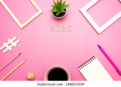 Mock up for the application of records, greetings for the new year 2020 in office style on purple background